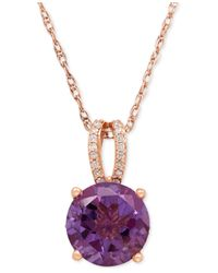 Macy's | Metallic Amethyst (2-1/2 Ct. T.w.) And Diamond (1/8 Ct. T.w.) Pendant Necklace In 14k Rose Gold | Lyst
