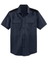 Sean John | Blue Men's Solid Twill Short-sleeve Shirt, Only At Macy's for Men | Lyst