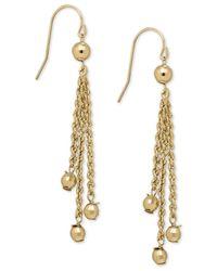 Macy's | Metallic Rope And Bead Dangle Drop Earrings In 14k Gold | Lyst