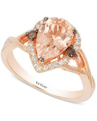 Le Vian | Pink Chocolatier Peach Morganite (1-1/3 Ct. T.w.) And Diamond (1/5 Ct. T.w.) Ring In 14k Rose Gold, Only At Macy's | Lyst