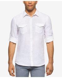 Calvin Klein Men 39 S Roll Tab Long Sleeve Shirt In White For