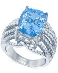 Lali Jewels - Aquamarine (7-3/4 Ct. T.w.) And Diamond (1 Ct. T.w.) Ring In 18k White Gold - Lyst