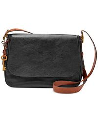 Fossil | Black Harper Large Leather Saddle Crossbody | Lyst