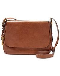 Fossil   Brown Harper Large Leather Saddle Crossbody   Lyst