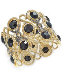 INC International Concepts | Metallic Gold-tone Jet Stone And Crystal Filigree Stretch Bracelet | Lyst