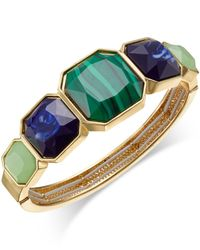 Charter Club | Green Gold-tone Large Stone Stretch Bangle Bracelet | Lyst