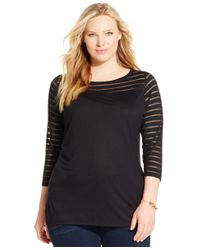 INC International Concepts | Black Plus Size Three-quarter-sleeve Mesh Top, Only At Macy's | Lyst