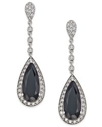 Macy's | Metallic Onyx (7×16mm) And Swarovski Zirconia Drop Earrings In Sterling Silver | Lyst