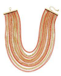 ABS By Allen Schwartz - Metallic Color Pop Crystal Multi-row Statement Necklace - Lyst