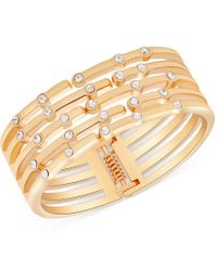 Guess | Metallic Gold-tone Crystal Hinged Bangle Bracelet | Lyst