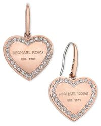 Michael Kors - Pink Logo Crystal Heart Drop Earrings - Lyst