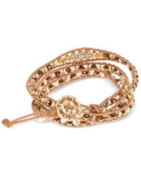 Lonna & Lilly - Gold-tone Brown Cord Beaded Wrap Bracelet - Lyst