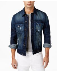 Guess - Blue Men's Dillon Burnt Wash Denim Jacket for Men - Lyst