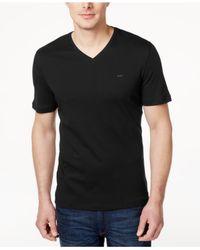 Michael Kors   Black Men's V-neck Liquid Cotton T-shirt for Men   Lyst
