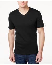 Michael Kors | Black Men's V-neck Liquid Cotton T-shirt for Men | Lyst