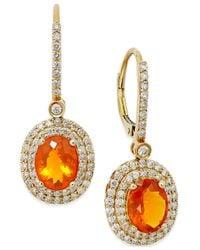 Macy's - Orange Fire Opal (2-1/10 Ct. T.w.) And Diamond (1 Ct. T.w.) Drop Earrings In 18k Gold - Lyst