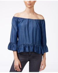 Sanctuary | Blue Printed Off-the-shoulder Top | Lyst