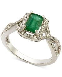 Macy's   Green Emerald (1 Ct. T.w.) And Diamond (1/4 Ct. T.w.) Twist Ring In 14k White Gold   Lyst