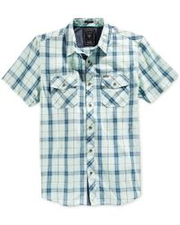 Guess - Blue Men's Hunter Plaid Short-sleeve Shirt for Men - Lyst