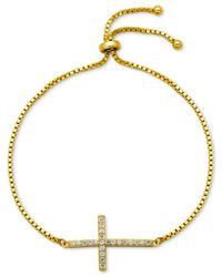 Giani Bernini - Metallic Cubic Zirconia Cross Adjustable Bracelet In 18k Gold-plated Sterling Silver Or Sterling Silver, Only At Macy's - Lyst