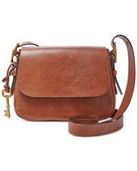 Fossil | Brown Harper Leather Small Saddle Crossbody | Lyst