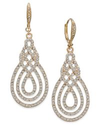 INC International Concepts | Metallic Gold-tone Pavé Open Saturn Drop Earrings | Lyst