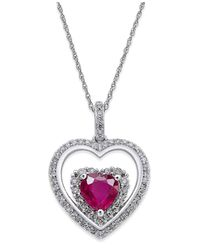 Macy's | Metallic Ruby (1-1/3 Ct. T.w.) And Diamond (1/3 Ct. T.w.) Heart Pendant Necklace In 14k White Gold | Lyst