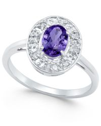 Macy's - Blue Tanzanite (1 Ct. T.w.) And Diamond (1/5 Ct. T.w.) Ring In 14k White Gold - Lyst