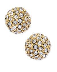 Charter Club | Metallic Gold-tone Pavé Ball Stud Earrings | Lyst