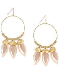 BCBGeneration - Pink Gold-tone Floral-inspired Gypsy Hoop Earrings - Lyst