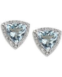 Macy's - Blue Aquamarine (3 Ct. T.w.) And Diamond (1/4 Ct. T.w.) Stud Earrings In 14k White Gold - Lyst