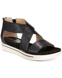 Adrienne Vittadini | Black Claud Sport Flatform Sandals | Lyst
