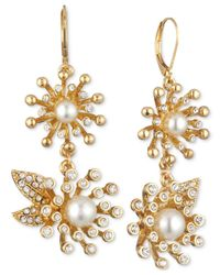 Anne Klein - White Gold-tone Pavé Imitation Pearl Double Drop Earrings - Lyst