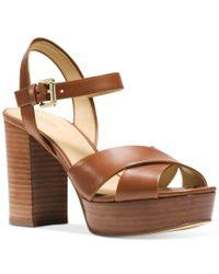 572cdb8e9061 Lyst - Michael Kors Michael Divia Platform Sandals in Brown