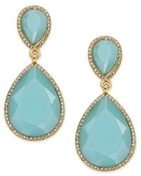ABS By Allen Schwartz | Metallic Gold-tone Blue Stone And Pave Drop Earrings | Lyst