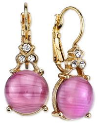 2028 - Metallic Gold-tone Light Purple Stone And Crystal Accent Drop Earrings - Lyst
