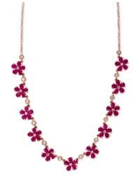 Effy Collection   Pink Rosa By Effy Ruby (13 Ct. T.w.) And Diamond (1/2 Ct. T.w.) Collar Necklace In 14k Rose Gold   Lyst