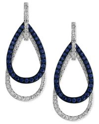 Effy Collection | Orange Sapphire (5/8 Ct. T.w.) And Diamond (3/8 Ct. T.w.) Open Double Teardrop Earrings In 14k White Gold | Lyst