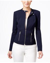 Calvin Klein - Black Front-zip Moto Jacket - Lyst