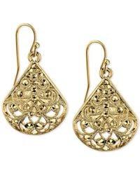 2028   Metallic Gold-tone Filigree Drop Earrings   Lyst