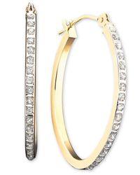 Macy's | Metallic 14k White Gold Earrings, Diamond Accent Oval Hoop Earrings | Lyst