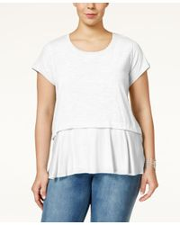 Style & Co. | White Plus Size Short-sleeve Flounced-hem Top | Lyst
