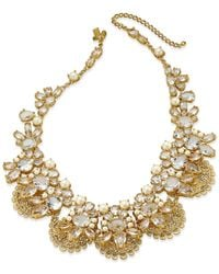 Kate Spade | Metallic Gold-tone White Imitation Pearl And Crystal Filigree Collar Necklace | Lyst
