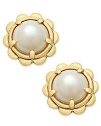 Kate Spade - Metallic Gold-tone Round Stone Scalloped Edged Stud Earrings - Lyst