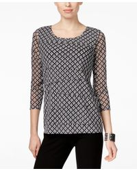 Alfani - White Petite Geo-print Tiered Top, Only At Macy's - Lyst