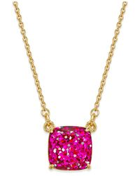 kate spade new york | Metallic 12k Gold-plated Pink Glitter Pendant Necklace | Lyst