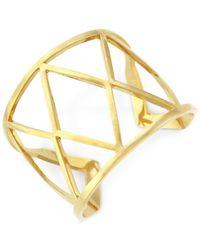 Vince Camuto   Metallic Gold-tone Geometric Openwork Cuff Bracelet   Lyst