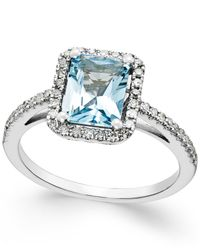 Macy's | Metallic Aquamarine (1-1/5 Ct. T.w.) And Diamond (1/4 Ct. T.w.) Ring In 14k White Gold | Lyst