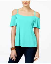 Michael Kors | Blue Michael Embellished Cold-shoulder Top, A Macy's Exclusive | Lyst