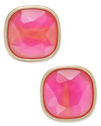 ABS By Allen Schwartz | Pink Gold-tone Colorful Stone Stud Earrings | Lyst